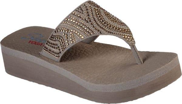 Skechers Vinyasa Stone Candy Toe Post Ladies Summer Taupe